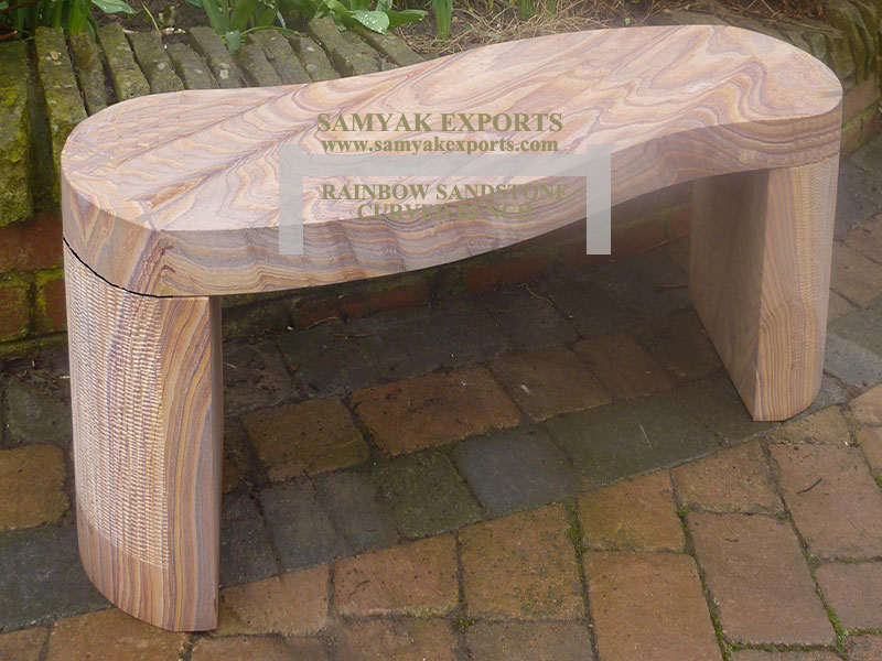 Rainbow Sandstone Curved Garden Bench Manufacturer, Exporter, Supplier