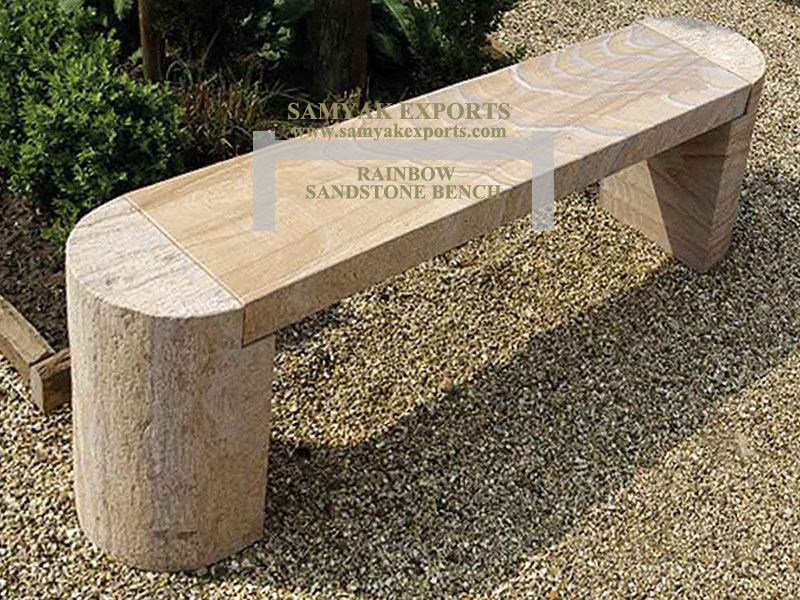 Rainbow Sandstone Garden Bench Manufacturer, Supplier Exporter in India