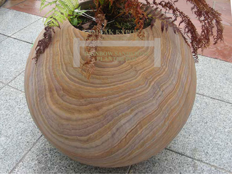 Rainbow Sandstone Planter Pot, Designer Flower Pot Supplier In India, Exporter In India, Manufacturer