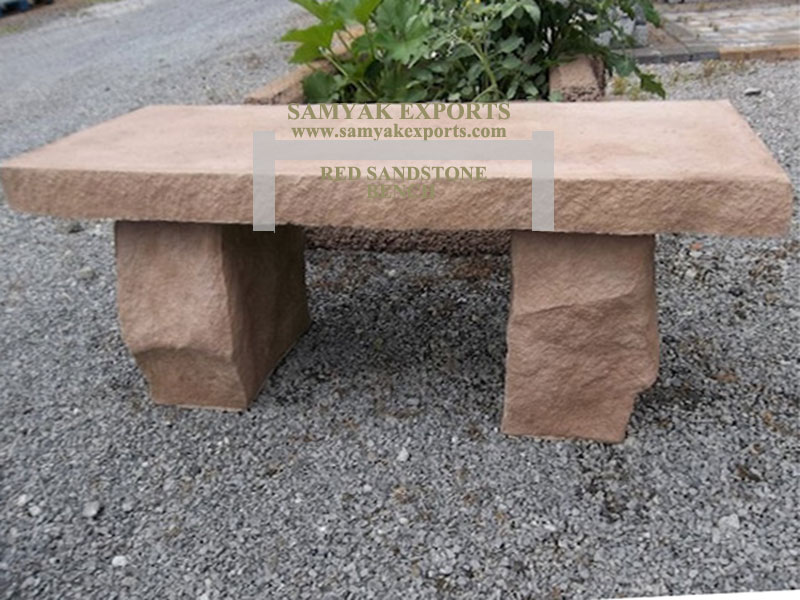 Red Sandstone Garden Bench Manufacturer, Exporter, Supplier in India