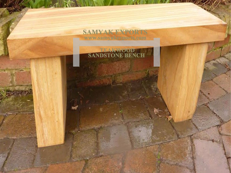 Teakwood Sandstone Backless Garden bench Manufacturer, Supplier, Exporter in India