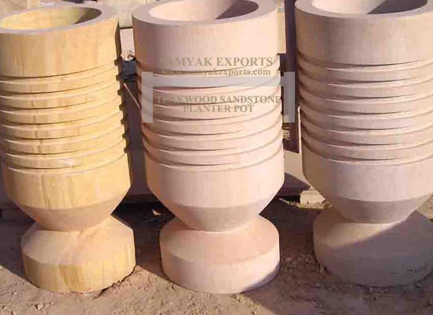 Teakwood Sandstone Planter Pot, Flower Pot Manufacturer, Supplier, Exporter In India, In Rajasthan